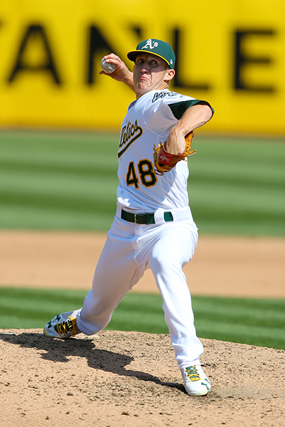 ©DANIEL GLUSKOTER Daniel Gossett pitched six strong innings in the opener of the A's doubleheader sweep over the Houston Astros on Saturday, striking out seven, as the A's scored a lopsided 11-1 victory.