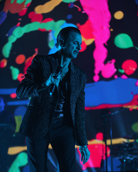 ©DANIEL GLUSKOTER Dave Gahan of Depche Mode appears at the start of the bands performance in San Jose on Sunday night.