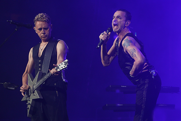 ©DANIEL GLUSKOTER Lead singer Dave Gahan and Martin Gore of Depche Mode perform last night in San Jose.