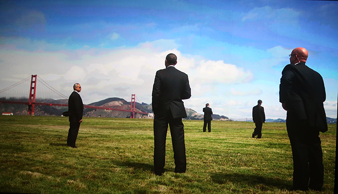 ©PETE SOUZA A 2010 image of President Obama standing on the Marina Green before departing on Marine One.