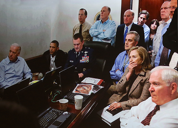 ©PETE SOUZA Official White House photographer Pete Souza's image of President Obama and his closest advisors in the Situation Room during the tense moments of the bin Laden raid in 2011.