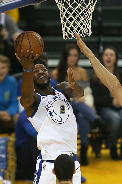 ©DANIEL GLUSKOTER Rookie Jordan Bell had another solid effort Friday night. Bell notched 20 points and 10 rebounds, both career highs, to help the Warriors win their 11th straight game 113-106 over the Lakers.