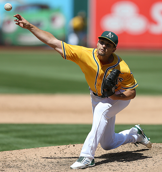 ©DANIEL GLUSKOTER Kendall Graveman is expected to be the A's opening day starter. The 27 year old who came over from Toronto in the Josh Donaldson trade is emblematic of Oakland's young staff, unproven, but with loads of potential.