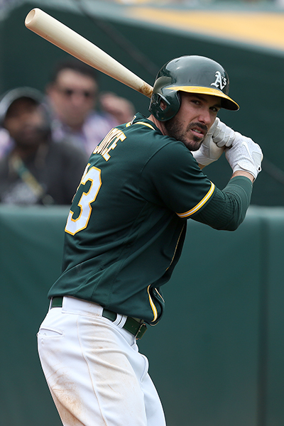 ©DANIEL GLUSKOTER Matt Joyce hit a career high 25 home runs to go along with 68 RBI's in his first season in Oakland. Similar numbers would go a long way towards helping the A's climb out of the AL West cellar in 2018.