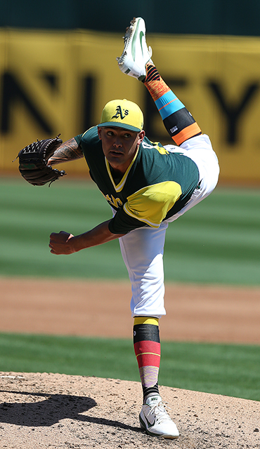 ©DANIEL GLUSKOTER Lefty Sean Manaea showed significant promise in 2017, leading the A's staff with 12 wins in just his second season in the big leagues. He opens the year projected to be Oakland's number two starter.