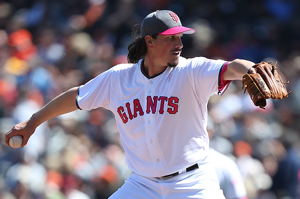 ©DANIEL GLUSKOTER Jeff Samardzija was 9-15 with a 4.42 ERA as the Giants third stater last season, but he led the league in innings pitched and was sixth in strikeouts.
