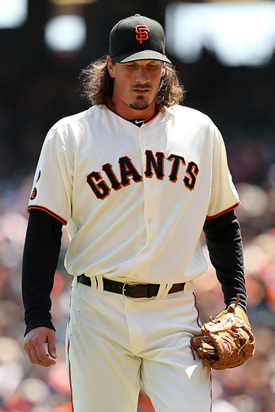 ©DANIEL GLUSKOTER Jeff Samardzija has been projected to be the Giants third starter going into 2018 after leading the NL in innings pitched last season, but a strained pectoral muscle will shut him down for at least a week.