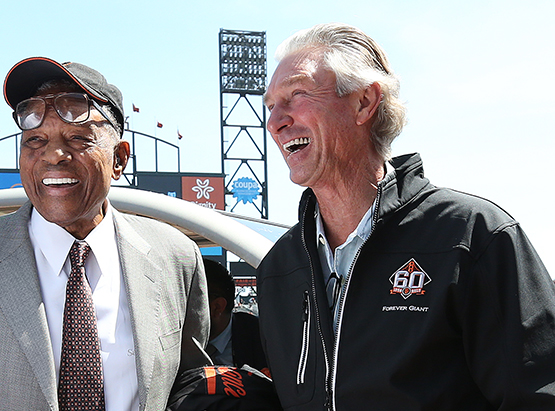 ©DANIEL GLUSKOTER Former Giants great Willie Mays is joined by Chris Speier during pre-game festivities honoring the teams 60th Anniversary in San Francisco. The Giants lost their home opener to the Seattle Mariners 6-4.